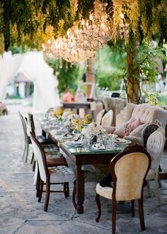 pretty wedding chairs outdoor reception beneath chandeliers and Reception, Styles, Seating, Ceremony Seating Wedding Reception Seating, Wedding Chairs, Reception Ideas, Wedding Table, Ojai Valley Inn And Spa, Pergola, Before Wedding, Nontraditional Wedding, Sophisticated Bride