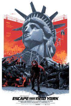 John Carpenter's Escape From New York Movie Art Print/Poster Film Best Movie Posters, Movie Poster Art, Film Posters, Cult Movies, Action Movies, Horror Movies, Action Film, New York Poster, New York Movie