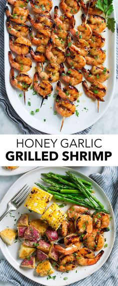 Grilled Shrimp {with Honey Garlic Marinade} - The easiest grilled shrimp recipe ever! Shrimp is soaked in a four ingredient marinade for just 30 minutes then grilled in a flash. Grilled Shrimp Marinade, Easy Grilled Shrimp Recipes, Grilled Seafood, Fish Recipes, Seafood Recipes, Seafood Appetizers, Shrimp Dinner Recipes, Grilled Garlic Shrimp, Grilling Shrimp