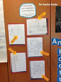 """October's LOVED that LESSON! Organizing our math work...using """"mentor math"""" (not mentor texts!) to showcase the math practices.  Students need to see quality work to know what they are capable of doing themselves. Stop by and see what we did!"""