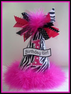 Personalized Hot Pink and Zebra Birthday Party Hat. $13.25, via Etsy. @Sarah Chintomby Blasier