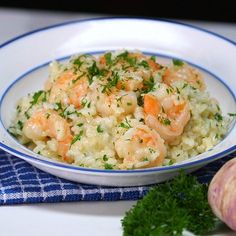 Garlic Butter Shrimp and Rice - •1 cup dry rice •6 tbsp butter •3-4 garlic gloves, minced •1 bag extra large, cooked, peeled, deveined shrimp •1/4 cup parmesan cheese, shredded •3 tbsp skim milk •2 tbsp fresh parsley, chopped •Salt and pepper, to taste •Shredded parmesan cheese for garnish, optional