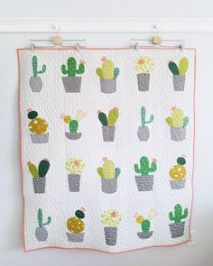 """Cactus Love"" pattern by Cabbage Rose made by Lindsey Neill ( - best baby products list Applique Patterns, Applique Quilts, Quilt Patterns, Paper Patterns, Quilting Projects, Quilting Designs, Sewing Projects, Quilt Baby, Cute Quilts"