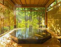 Japanese Bath House, Japanese Bathroom, Japanese Home Design, Traditional Japanese House, Casa Steampunk, Exterior Design, Interior And Exterior, Japanese Hot Springs, Villa