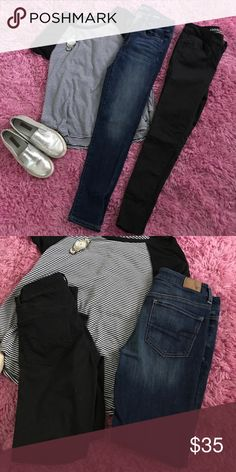 4short- AEO JEGGINGS - price firm Black and medium denim colored Jeggings. Size 4 SHORT. Super super stretch. The black is AEO SATEEN X. Don't forget to bundle and save 16% off 3+ items from my closet! HAPPY SHOPPING American Eagle Outfitters Jeans Skinny
