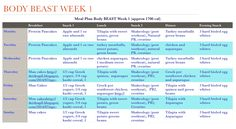 My meal plan for week 1 of Body Beast #cleaneating #mealplan #bodybeast