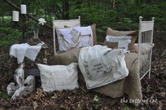 Quality linen pillows with vintage laces, trims, and buttons as accents from The Tattered Cat