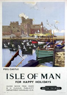 Vintage Travel Giclee Print: Peel Castle, Isle of Man, BR, by Charles Pears : - Posters Uk, Train Posters, Railway Posters, Manx, British Travel, Isle Of Man, Vintage Travel Posters, Vintage Ski, British Isles