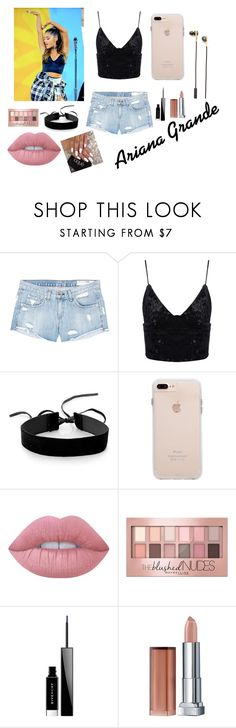 """Ariana Grande"" by somerandomgirlontheinternet ❤ liked on Polyvore featuring rag & bone/JEAN, Simons, Lime Crime, Maybelline, Givenchy and Caeden"