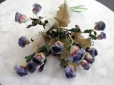 Vintage 1940s  millinery flower bouquet of blue thistle flowers velvety tops