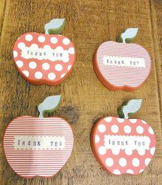 Great teacher appreciation gifts- decorated wooden apples on Teacher Birthday Gifts, Diy Birthday, Teacher Gifts, Sunday School Kids, School Staff, School Days, Staff Appreciation Gifts, Back To School Gifts For Teachers, Kindergarten Gifts