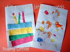 Reading Confetti: Fingerprint Birthday Cards - I used the whole finger print to make the candles and the tips for the flame. Birthday Cards To Print, Bday Cards, Happy Birthday Cards, Birthday Card For Grandma, Homemade Birthday Cards, Birthday Crafts, Preschool Birthday, 90th Birthday, Birthday Ideas