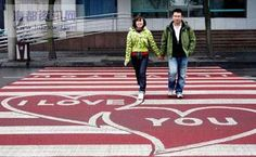 Road Graffiti - Imagine coming across zebra crossings that are the shape of a bootprint, lined with painted barbwire, a V.P crossing with a roped barrier or even. Passage Piéton, Zebra Crossing, Chengdu, China, Love, People, February 1, Landscape Architecture, Benches