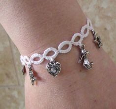 Hand Tatted Charm Bracelet - ooak jewelry by KweenBee on Etsy, $15.00