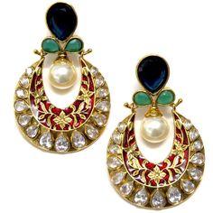 fancy gold earrings with meenakari work Jewelry Design Earrings, Jewelry Art, Gold Earrings, Antique Jewelry, Vintage Jewelry, Fashion Jewelry, Indian Wedding Jewelry, Bridal Jewelry, Stone Jewelry