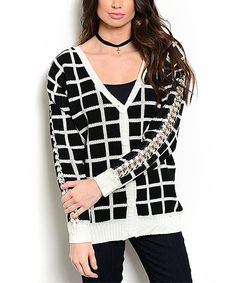 This Black & Ivory Windowpane V-Neck Cardigan by 24 7 Frenzy is perfect! #zulilyfinds