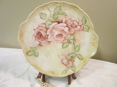 Cake Plate Large Plate Dish Tray Roses Art Painting Hand Painted  Porcelain Ceramic