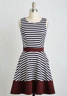 Always Amiable Dress in Merlot - Multi, White, Stripes, Print, Work, A-line, Sleeveless, Fall, Knit, Good, Mid-length, Variation