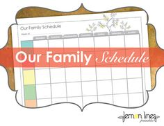 Weekly Family Schedule Printable  INSTANT by LemonLinesPrintables