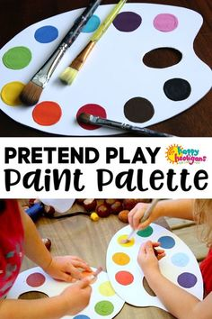 DIY Pretend Play Paint Palette : Paper Mache Bowls - a Gift for Kids to Make and Give - Happy Hooligans Creative Activities For Kids, Creative Play, Craft Activities, Diy Crafts For Kids, Gifts For Kids, Art For Kids, Summer Crafts, Toddler Preschool, Toddler Crafts