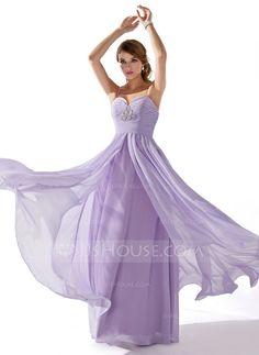 A-Line/Princess Sweetheart Floor-Length Chiffon Prom Dress With Ruffle Beading (018004835)