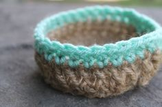 jute  cotton  shallow table top bowl by KILAandPEOPLE on Etsy