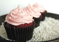 Baby Shower Cupcakes.  Red Velvet Cupcakes with Cream Cheese Icing which I  tinted pink for an elegant baby shower for a baby girl!