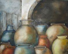 Vasijas multicolor Oleo Pilar Sala