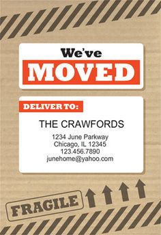 we have moved green moving announcement postcard go green pinterest moving announcements. Black Bedroom Furniture Sets. Home Design Ideas