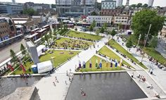 This project aims to transform Woolwich into one of London's best-connected, most sought-after riverside areas. Developed with the local community, the landscape masterplan draws on the town's rich architectural and military heritage to create two multi-functional, fully-accessible spaces called 'Garden' and 'Ballroom', connected by Greens End's revitalised streetscape.