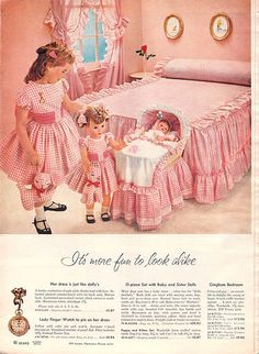 1959 Sears Christmas book page040, Yes there can be too much pink gingham. Too much.