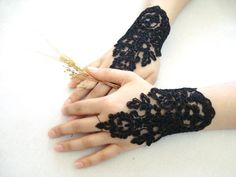 Black Lace Fingerless Gloves Lace Wedding Accessory by bytugce, $24.00