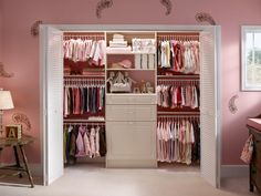 Typically made from coated wire or laminated wood, closet systems can add both beauty and function to a girl's room or nursery. A laminate closet system in traditional white by ClosetMaid complements this nursery's pastel color palette. Plus, the shelves and drawers in the center of the closet provide much-needed storage space for diapers, blankets, toys and more.