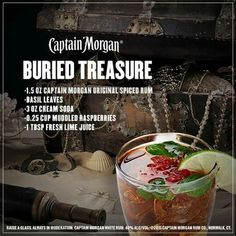 Hafta try this Fun Drinks, Alcoholic Drinks, Cocktails, Beverages, Modified Atkins Diet, Captain Morgan Rum, Buried Treasure, Cream Soda, Basil Leaves