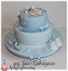 Baby shower cake for a boy Baby Shower Cakes For Boys, Baby Boy Cakes, Boy Baby Shower Themes, Baby Boy Shower, Baby Boy Christening Cake, Baptism Cakes, Girls First Birthday Cake, Buttercream Cake Designs, Fondant Baby