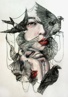 """red-lipstick: """"Marie-Esther aka Gaia Alari (Italy) - This Cage Is Deceitful, 2015 Mixed Media: Watercolors, Colored Pencils, Graphite on Paper """" Drawing Sketches, Art Drawings, Art Du Collage, Bd Art, L'art Du Portrait, Person Cartoon, Illustration Art, Illustrations, Desenho Tattoo"""