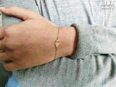 Hamsa Hand Bracelet- CZ Hamsa Bracelet- Hand of Fatima Bracelet- Good Luck Gift- Minimal Protection Gold FIlled Friendship Gift Good Luck Gifts, Pearl Necklace Wedding, Hamsa Necklace, Hand Bracelet, Hand Of Fatima, Friendship Gifts, Hamsa Hand, Gypsy Style, Gold Filled Chain