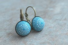 Turquoise mosaic  Cabochon Earrings Summer earrings  by picturing, €10.90  LOVE THESE!