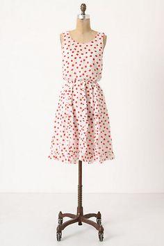 Cerise stamped dress, linen w/ cotton lining, Anthropologie $148