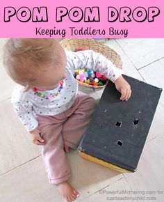 Pom Pom Drop- Keeping Toddlers Busy- pinned by @PediaStaff – Please Visit ht.ly/63sNtfor all our pediatric therapy pins