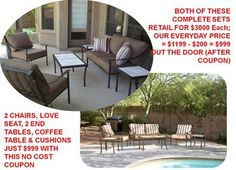 $200 Off From Phx Patio Furniture Manufacturer W/This No Cost Coupon: Sets Start @ $999 After Coupon www.monsoondeals.com