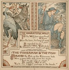 63. The Fisherman and The Fish - Baby's Own Aesop (Walter Crane, illustrator)
