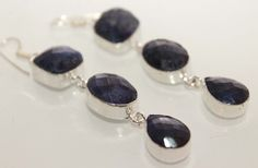 Lovely Natural Blue Sodalite Long Earrings  . Starting at $1