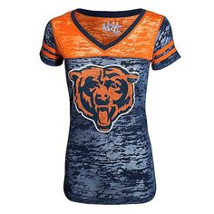 "Chicago Bears Women's Navy and Orange ""Coop Football"" Burnout V-Neck"