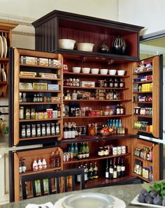 A repurposed armoir becomes an awesome pantry.  Photo from Better Homes & Gardens Real Estate http://www.facebook.com/#!/BHGRealEstate
