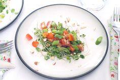 Asparagus Tomato Arugula Sprouts Salad - Eat Simple Food