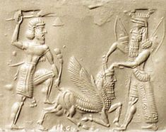 Ancient Sumerian Seal - depiction of a mighty hunter overthrowing the symbols of divinity