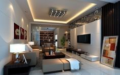 idée deco salon moderne, tapis gris, grands tabourets, écran plat monté au mur blanc