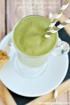 Peanut Butter Chocolate Banana Green Smoothie