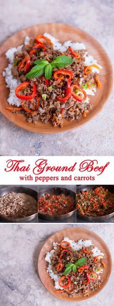 Thai Ground Beef Recipe with Mint, Carrots, and Peppers. An easy Thai recipe that's kid friendly and simple to make paleo or gluten free. Plus video on how to make homemade toasted rice powder for authentic Thai cooking! - EatingRichly.com